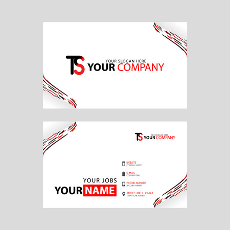 The TS logo on the red black business card with a modern design is horizontal and clean. and transparent decoration on the edges.