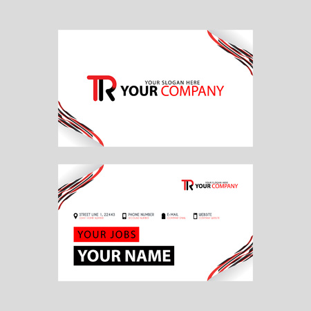 The TR logo on the red black business card with a modern design is horizontal and clean. and transparent decoration on the edges.