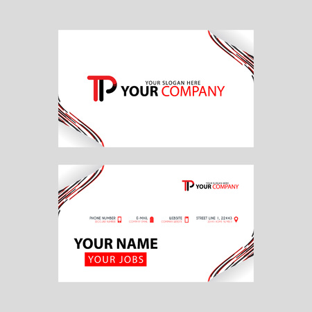 The TP logo on the red black business card with a modern design is horizontal and clean. and transparent decoration on the edges.