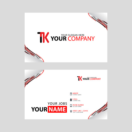 The TK logo on the red black business card with a modern design is horizontal and clean. and transparent decoration on the edges. Illusztráció