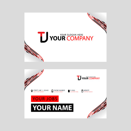 The TJ logo on the red black business card with a modern design is horizontal and clean. and transparent decoration on the edges.