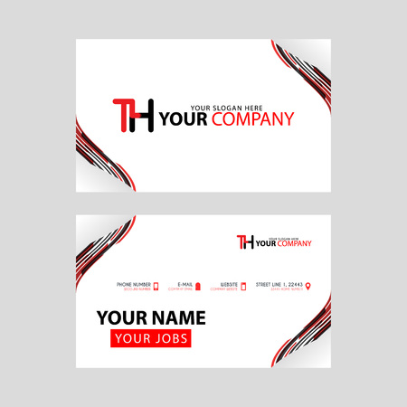 The TH logo on the red black business card with a modern design is horizontal and clean. and transparent decoration on the edges.