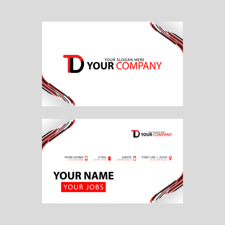The TD logo on the red black business card with a modern design is horizontal and clean. and transparent decoration on the edges. Logó