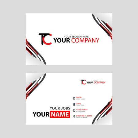 The TC logo on the red black business card with a modern design is horizontal and clean. and transparent decoration on the edges.