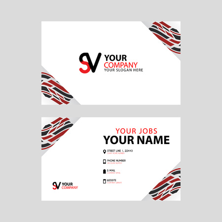 Horizontal name card with decorative accents on the edge and bonus SV logo in black and red. Illusztráció