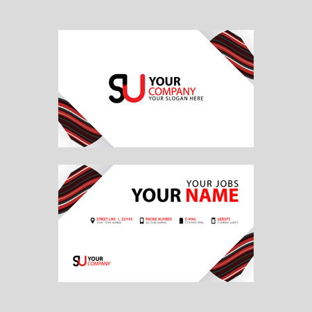 Horizontal name card with decorative accents on the edge and bonus SU logo in black and red.