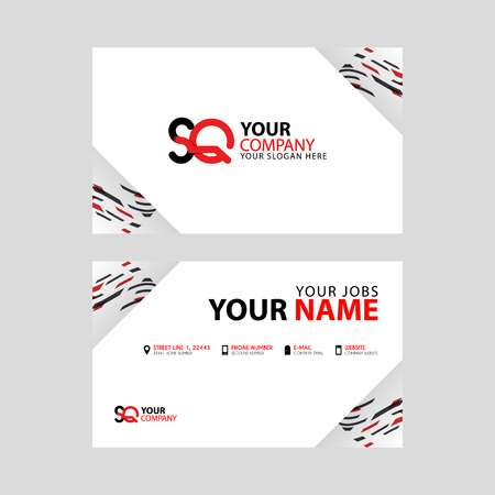 Horizontal name card with decorative accents on the edge and bonus SQ logo in black and red.