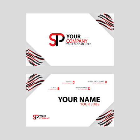 Horizontal name card with decorative accents on the edge and bonus SP logo in black and red.