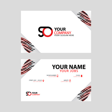 Horizontal name card with decorative accents on the edge and bonus SO logo in black and red.