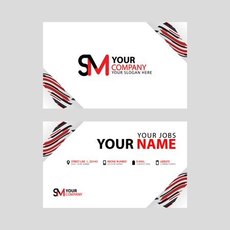 Horizontal name card with decorative accents on the edge and bonus SM logo in black and red.