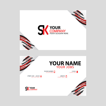 Horizontal name card with decorative accents on the edge and bonus SK logo in black and red.