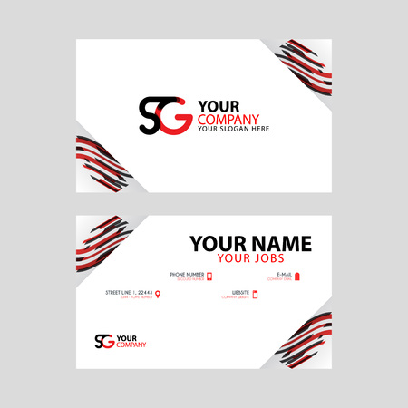 Horizontal name card with decorative accents on the edge and bonus SG logo in black and red. Illusztráció