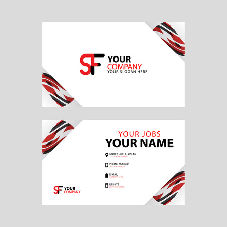 Horizontal name card with decorative accents on the edge and bonus SF logo in black and red. Ilustração