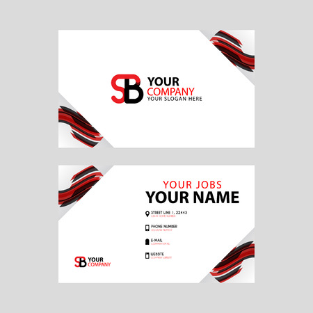 Horizontal name card with decorative accents on the edge and bonus SB logo in black and red.