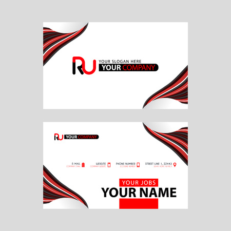 Logo RU design with a black and red business card with horizontal and modern design.
