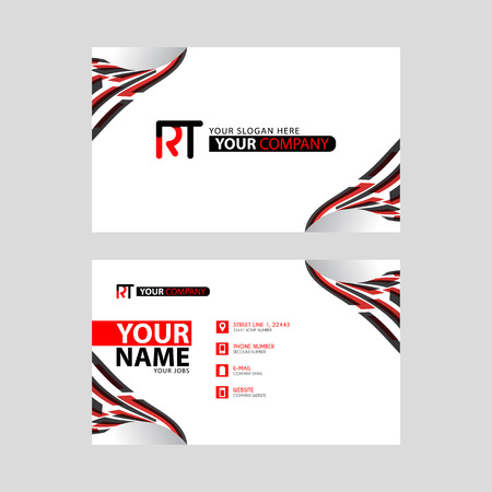 Logo RT design with a black and red business card with horizontal and modern design. Logó