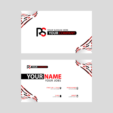 Logo RS design with a black and red business card with horizontal and modern design.