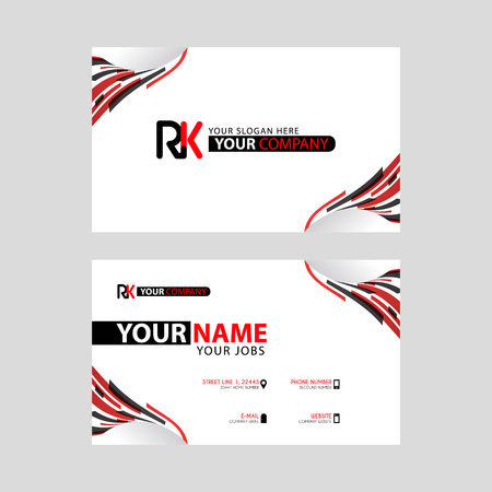 Logo RK design with a black and red business card with horizontal and modern design.