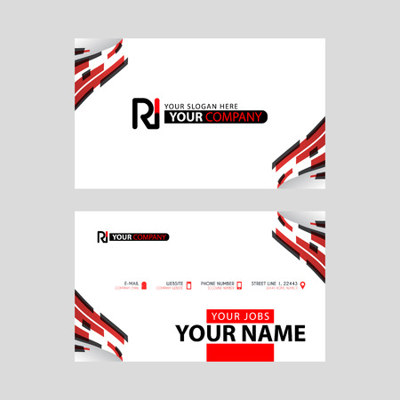 Logo RI design with a black and red business card with horizontal and modern design. Illusztráció