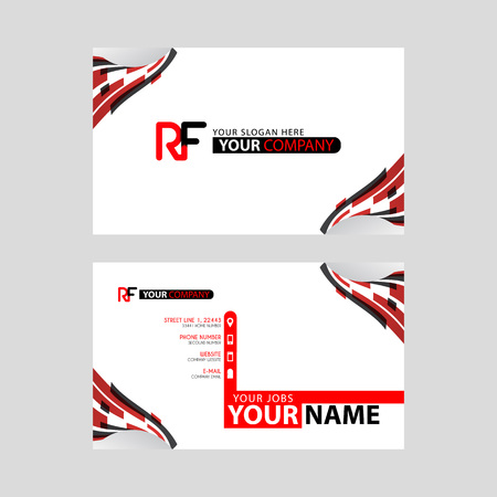 Logo RF design with a black and red business card with horizontal and modern design.