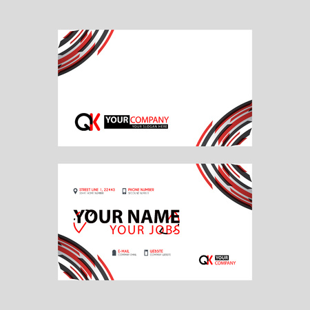 Modern simple horizontal design business cards. with QK Logo inside and transparent red black color.