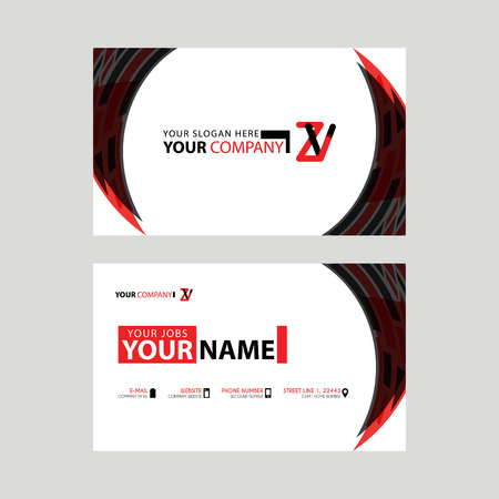 Modern business card templates, with ZV logo Letter and horizontal design and red and black colors. Ilustrace