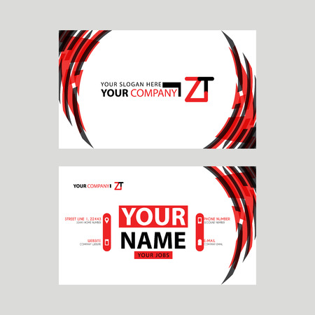Modern business card templates, with ZT logo Letter and horizontal design and red and black colors.