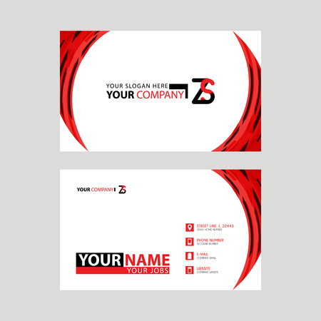 Modern business card templates, with ZS logo Letter and horizontal design and red and black colors.