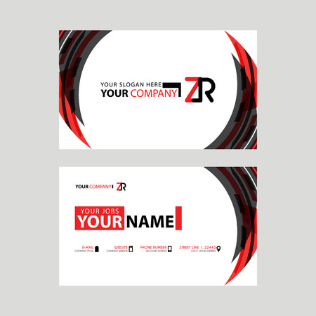 Modern business card templates, with ZR logo Letter and horizontal design and red and black colors.