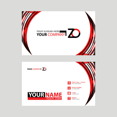 Modern business card templates, with ZO logo Letter and horizontal design and red and black colors.