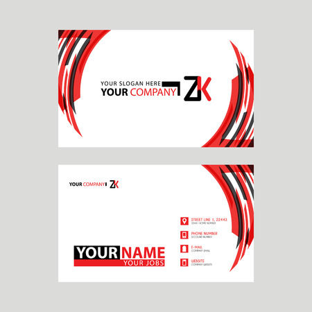 Modern business card templates, with ZK logo Letter and horizontal design and red and black colors.