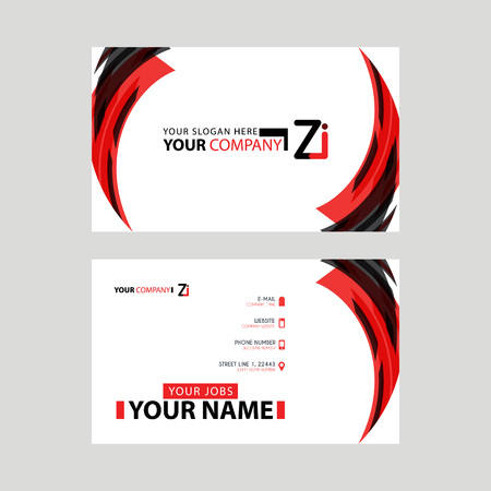 Modern business card templates, with ZI logo Letter and horizontal design and red and black colors. Stock Vector - 106169080