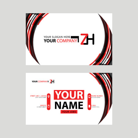 Modern business card templates, with ZH logo Letter and horizontal design and red and black colors. Illusztráció
