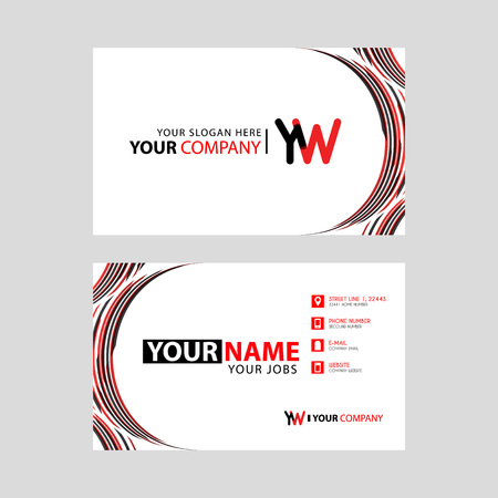 Letter YW logo in black which is included in a name card or simple business card with a horizontal template.