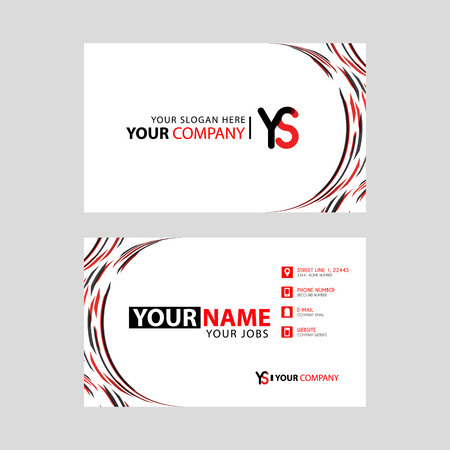 Letter YS logo in black which is included in a name card or simple business card with a horizontal template.