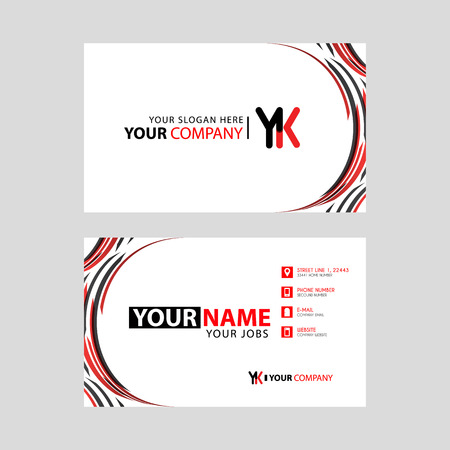 Letter YK logo in black which is included in a name card or simple business card with a horizontal template.