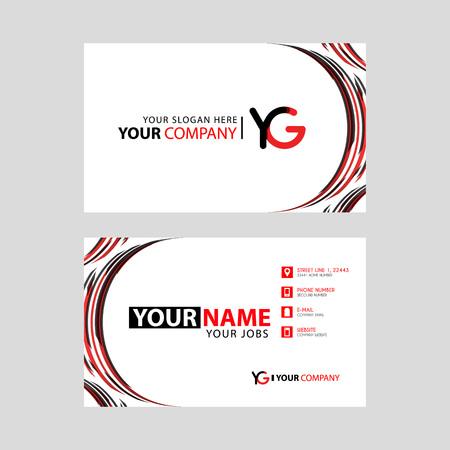 Letter YG logo in black which is included in a name card or simple business card with a horizontal template.
