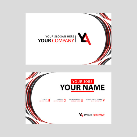 Letter YA logo in black which is included in a name card or simple business card with a horizontal template.