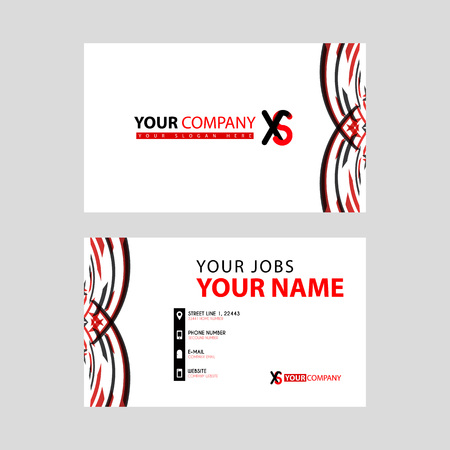 Business card template in black and red. with a flat and horizontal design plus the XS logo Letter on the back.
