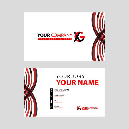 Business card template in black and red. with a flat and horizontal design plus the XG logo Letter on the back.