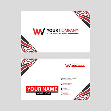 the WV logo letter with box decoration on the edge, and a bonus business card with a modern and horizontal layout.