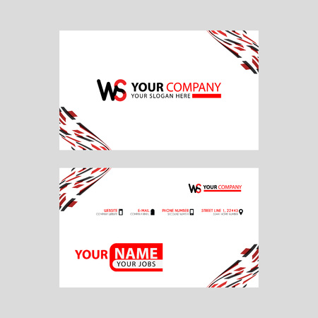 the WS logo letter with box decoration on the edge, and a bonus business card with a modern and horizontal layout. Illusztráció