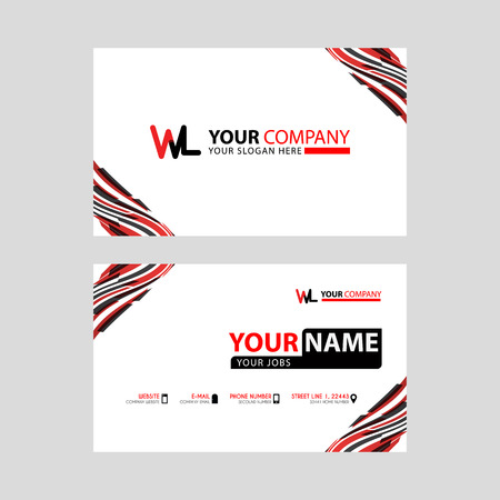 the WL logo letter with box decoration on the edge, and a bonus business card with a modern and horizontal layout.
