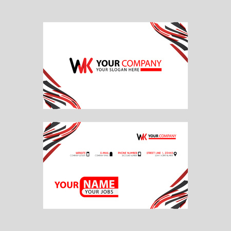 the WK logo letter with box decoration on the edge, and a bonus business card with a modern and horizontal layout.