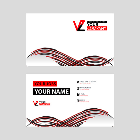 Horizontal name card with VZ logo Letter and simple red black and triangular decoration on the edge.