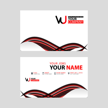 Horizontal name card with VU logo Letter and simple red black and triangular decoration on the edge.