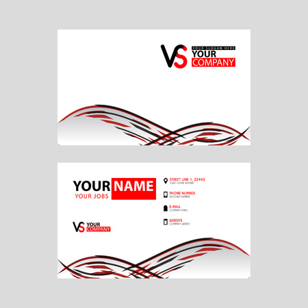 Horizontal name card with VS logo Letter and simple red black and triangular decoration on the edge.