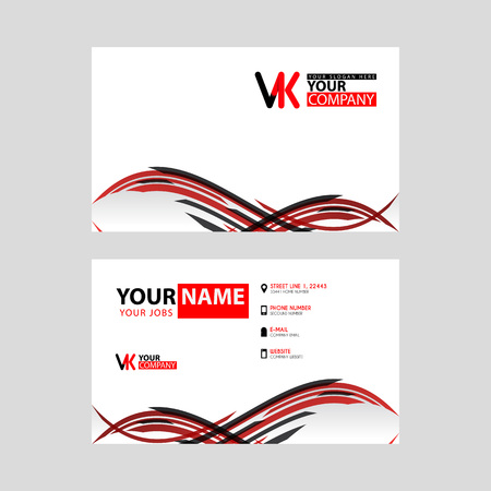 Horizontal name card with VK logo Letter and simple red black and triangular decoration on the edge.