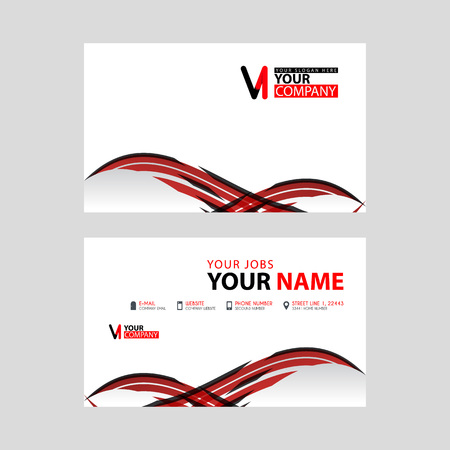 Horizontal name card with VI logo Letter and simple red black and triangular decoration on the edge.