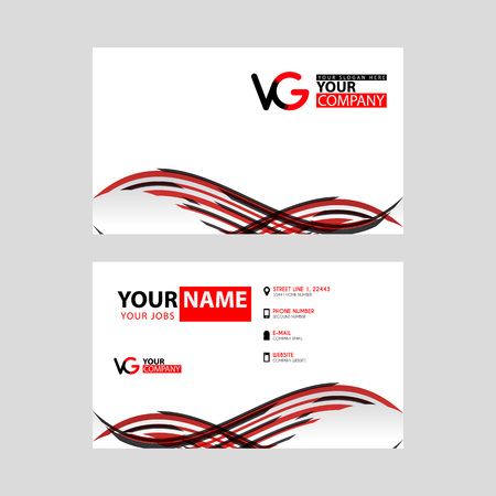 Horizontal name card with VG logo Letter and simple red black and triangular decoration on the edge.